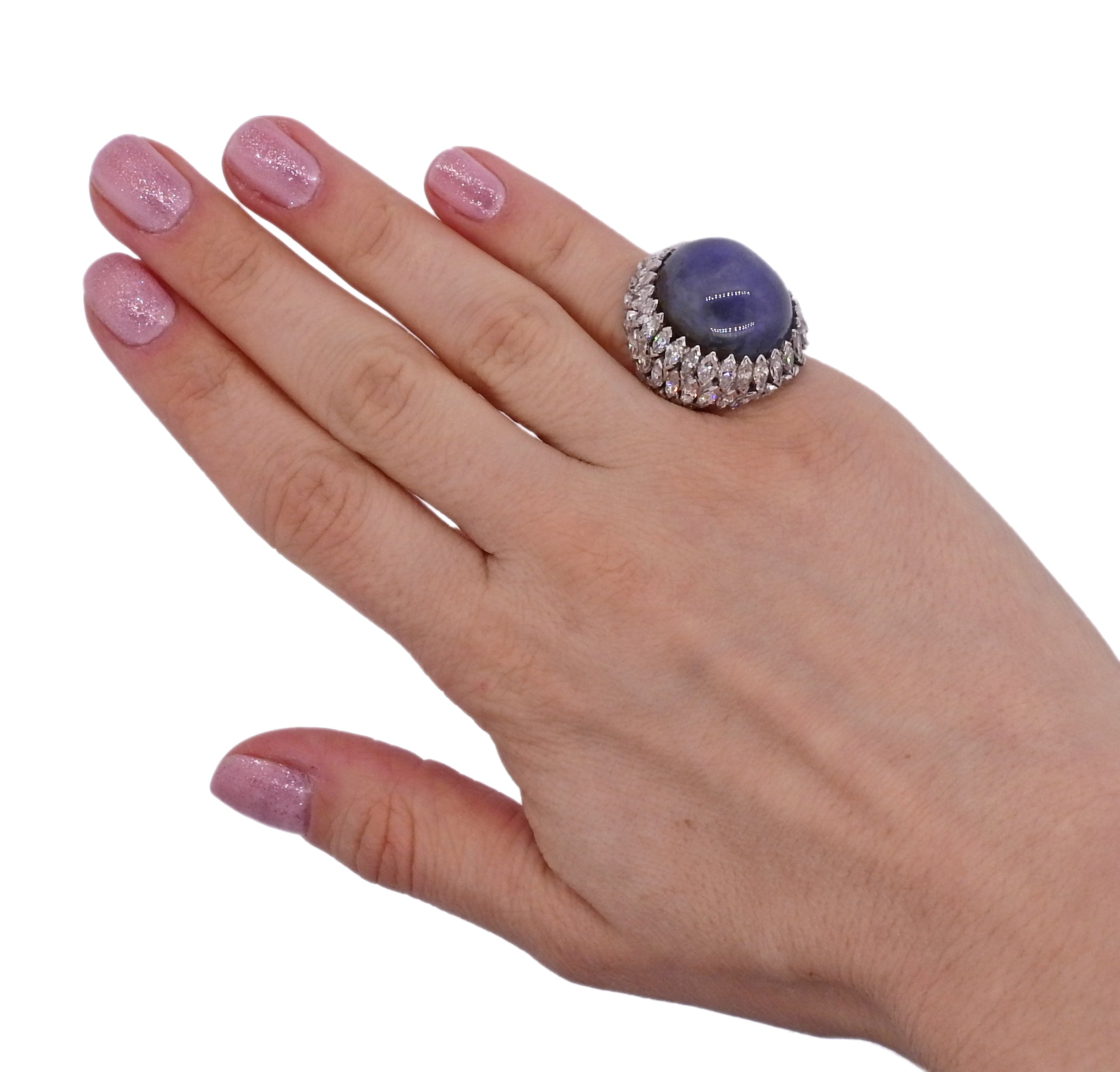 Sapphire Cabochon Diamond Platinum Cocktail Ring
