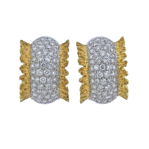 image of Buccellati Diamond Gold Hoop Earrings