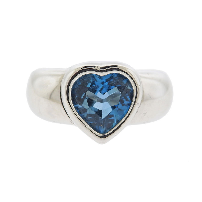 thumbnail image of Piaget 18k Gold Blue Topaz Heart Ring
