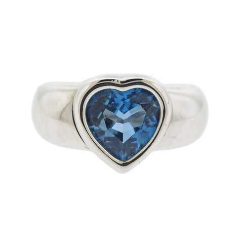 image of Piaget 18k Gold Blue Topaz Heart Ring