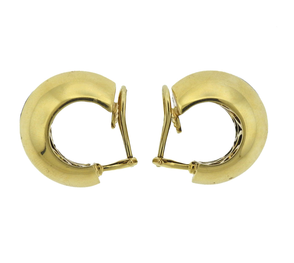 thumbnail image of Seaman Schepps Wood Citrine 18k Gold Hoop Earrings