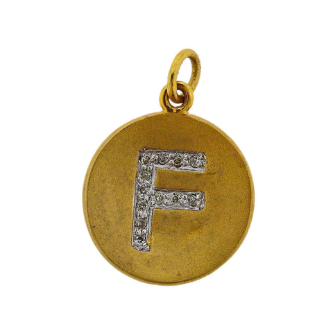 image of Yellow Gold Diamond F Initial Letter Charm Pendant