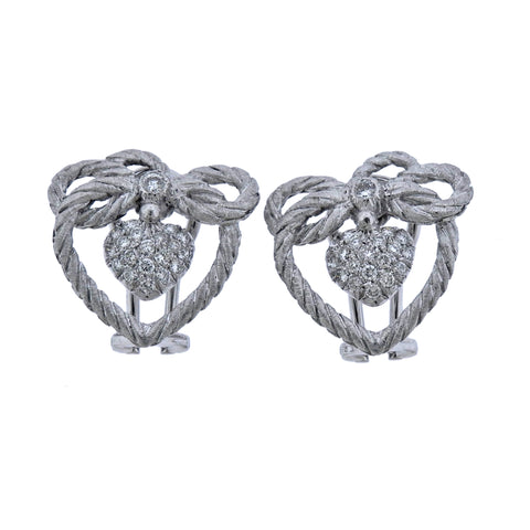 image of Buccellati Diamond White Gold Heart Earrings