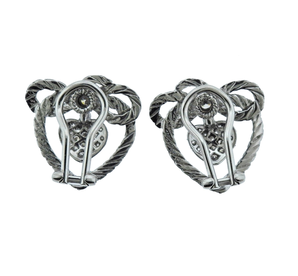 thumbnail image of Buccellati Diamond White Gold Heart Earrings
