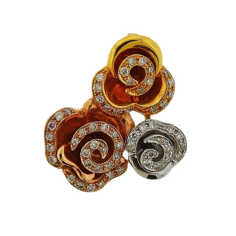 image of Tri Color Gold Diamond Rose Flower Slide Pendant
