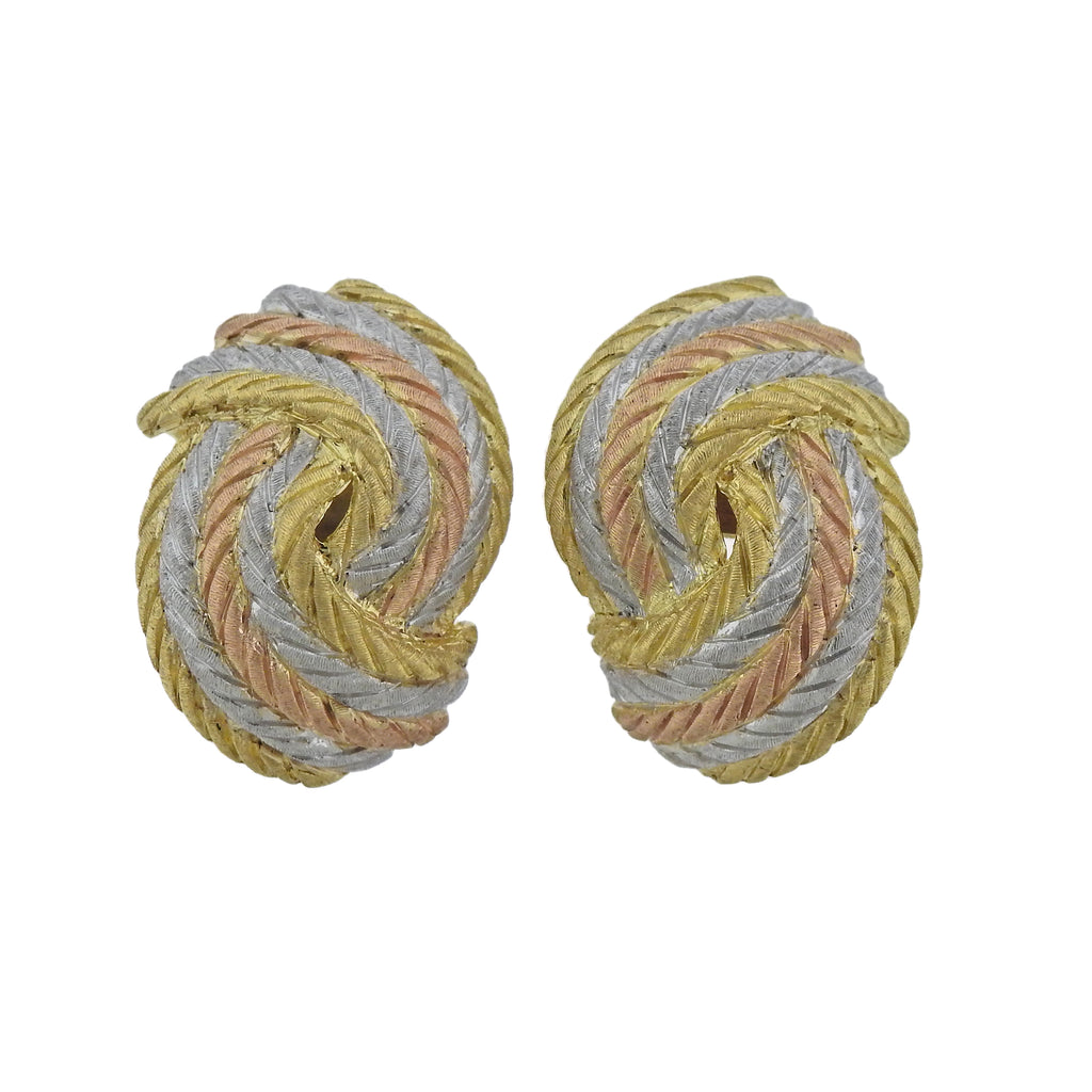 thumbnail image of Buccellati Tri Color Gold Woven Motif Earrings