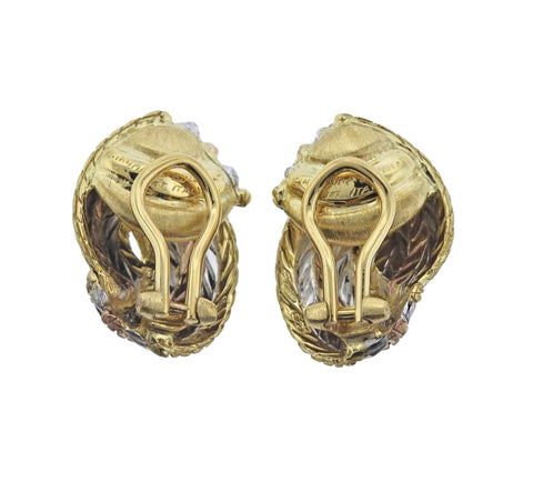image of Buccellati Tri Color Gold Woven Motif Earrings