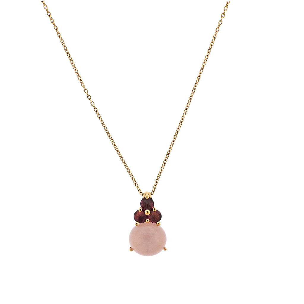 thumbnail image of Pomellato Luna Rose Quartz Tourmaline 18k Gold Pendant Necklace