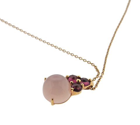 image of Pomellato Luna Rose Quartz Tourmaline 18k Gold Pendant Necklace