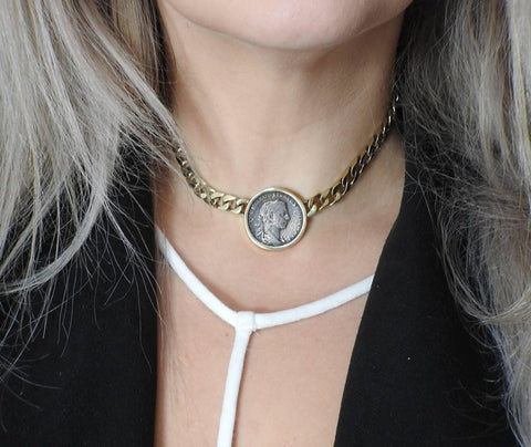 image of Ancient Coin Gold Pendant Necklace