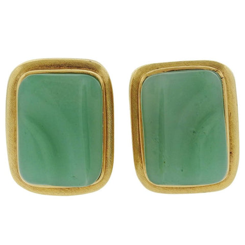 image of Burle Marx Forma Livre Chrysoprase Gold Earrings