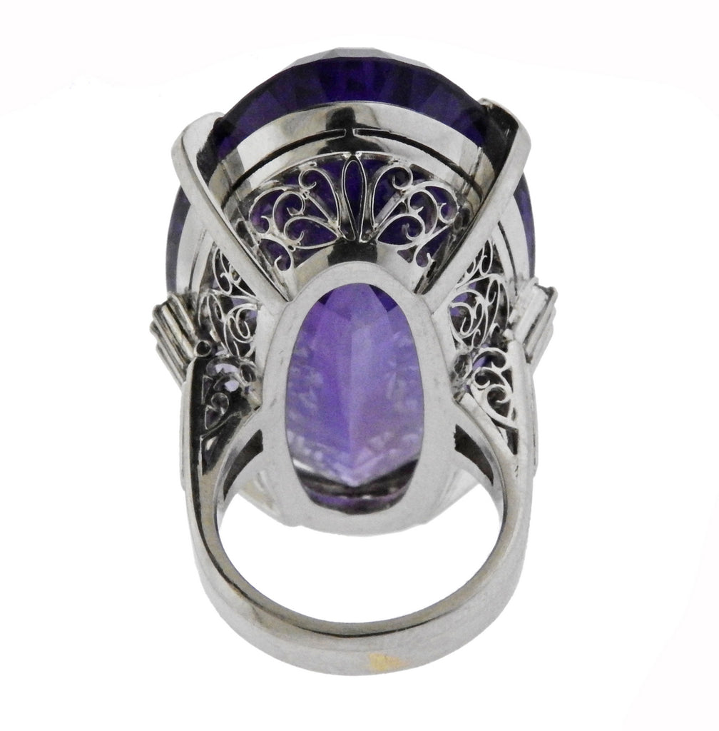 thumbnail image of 65ct Amethyst Diamond Platinum Cocktail Ring