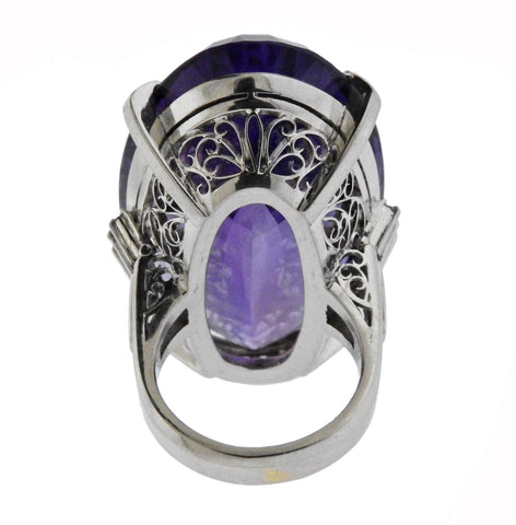 image of 65ct Amethyst Diamond Platinum Cocktail Ring