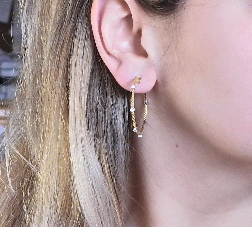 thumbnail image of Buccellati Ondine Diamond 18k Gold Hoop Earrings