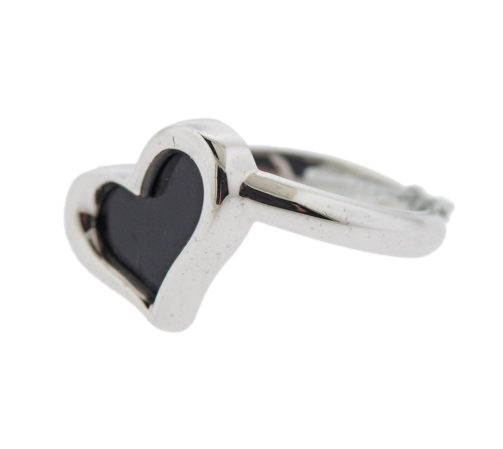 thumbnail image of Piaget 18k Gold Onyx Heart Ring