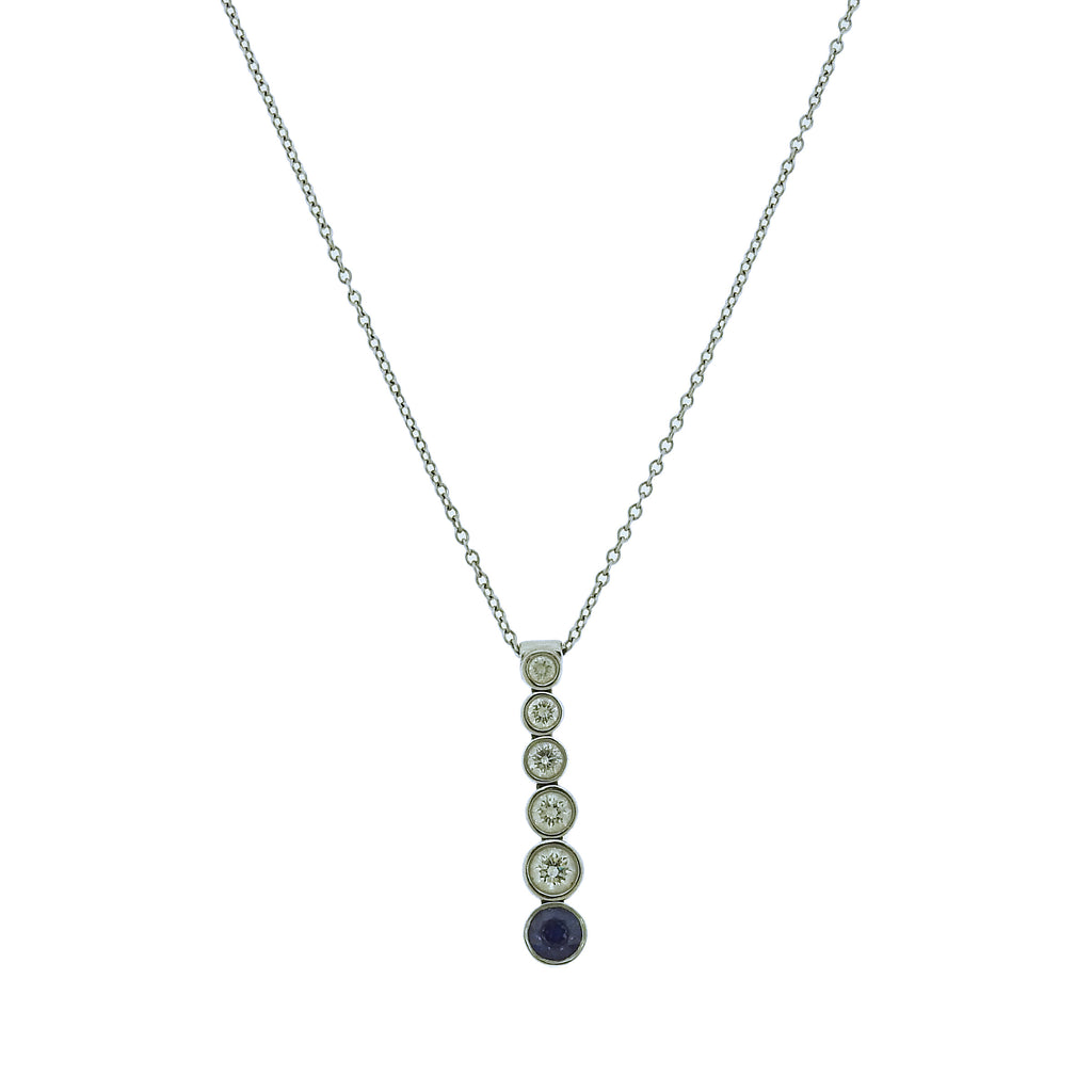 thumbnail image of Tiffany & Co Jazz Platinum Diamond Sapphire Pendant Necklace
