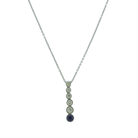 image of Tiffany & Co Jazz Platinum Diamond Sapphire Pendant Necklace