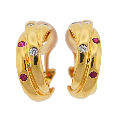 image of Cartier Paris Trinity Ruby Sapphire Diamond Gold Hoop Earrings