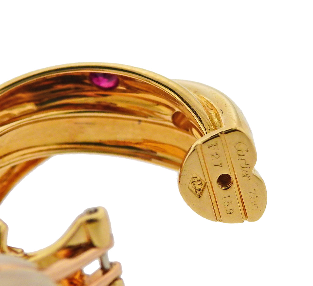 thumbnail image of Cartier Paris Trinity Ruby Sapphire Diamond Gold Hoop Earrings