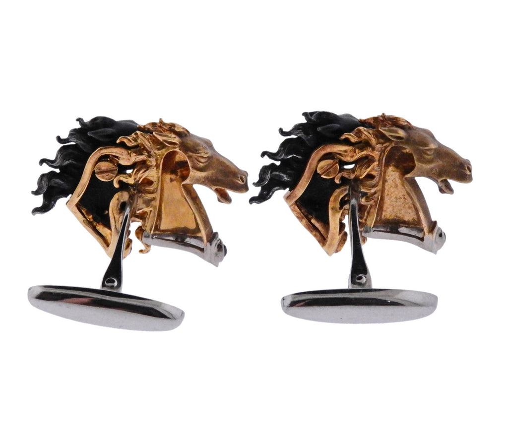 thumbnail image of Carrera Y Carrera Diamond Gold Steel Horse Cufflinks