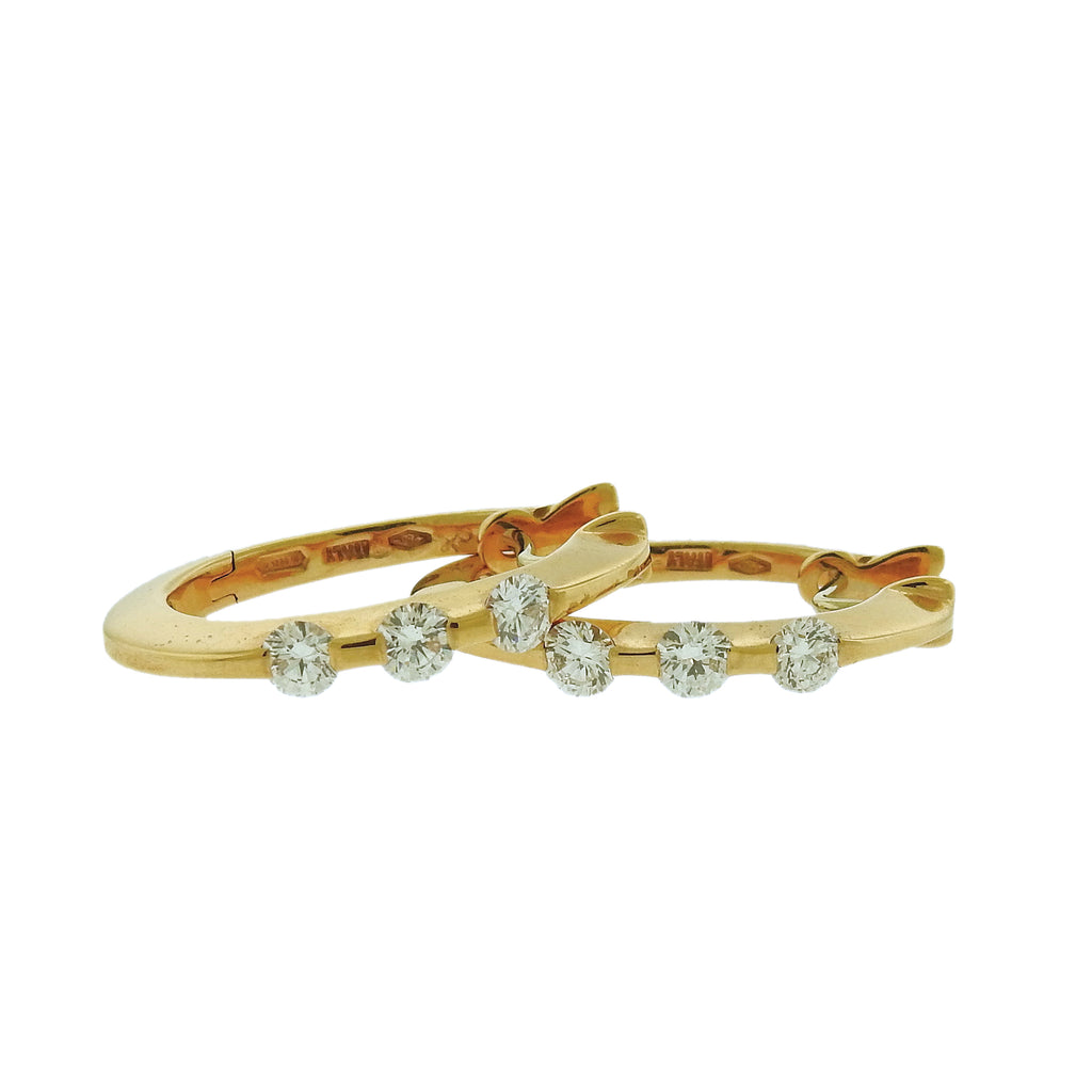 thumbnail image of Roberto Coin 18k Yellow Gold Diamond Hoop Earrings