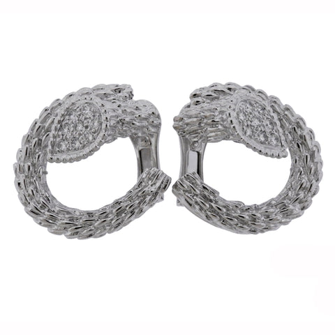 image of Boucheron Serpent Boheme Diamond White Gold Earrings
