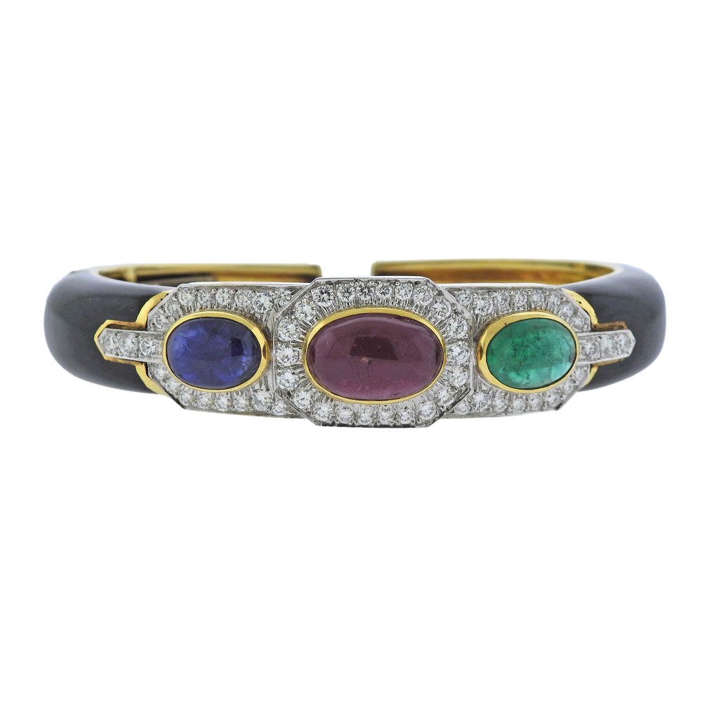 thumbnail image of David Webb 18k Gold Platinum Diamond Ruby Sapphire Emerald Bracelet