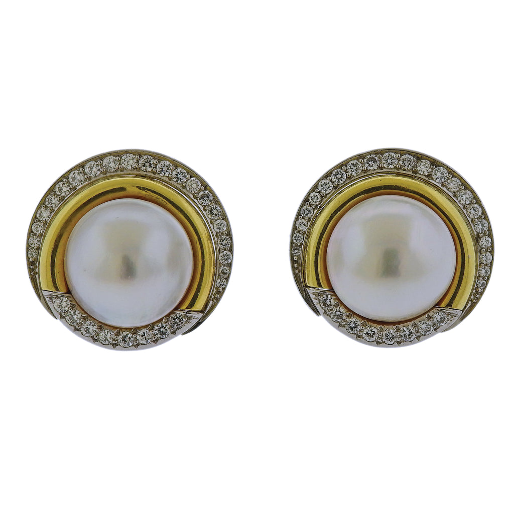 thumbnail image of Cartier Pearl Diamond Gold Platinum Earrings