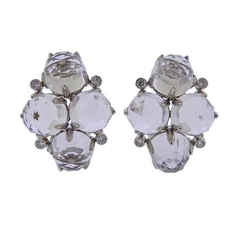 image of Aletto Brothers Crystal Diamond Gold Earrings