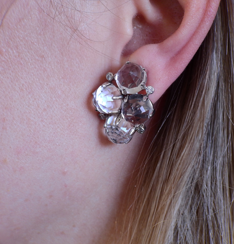 thumbnail image of Aletto Brothers Crystal Diamond Gold Earrings