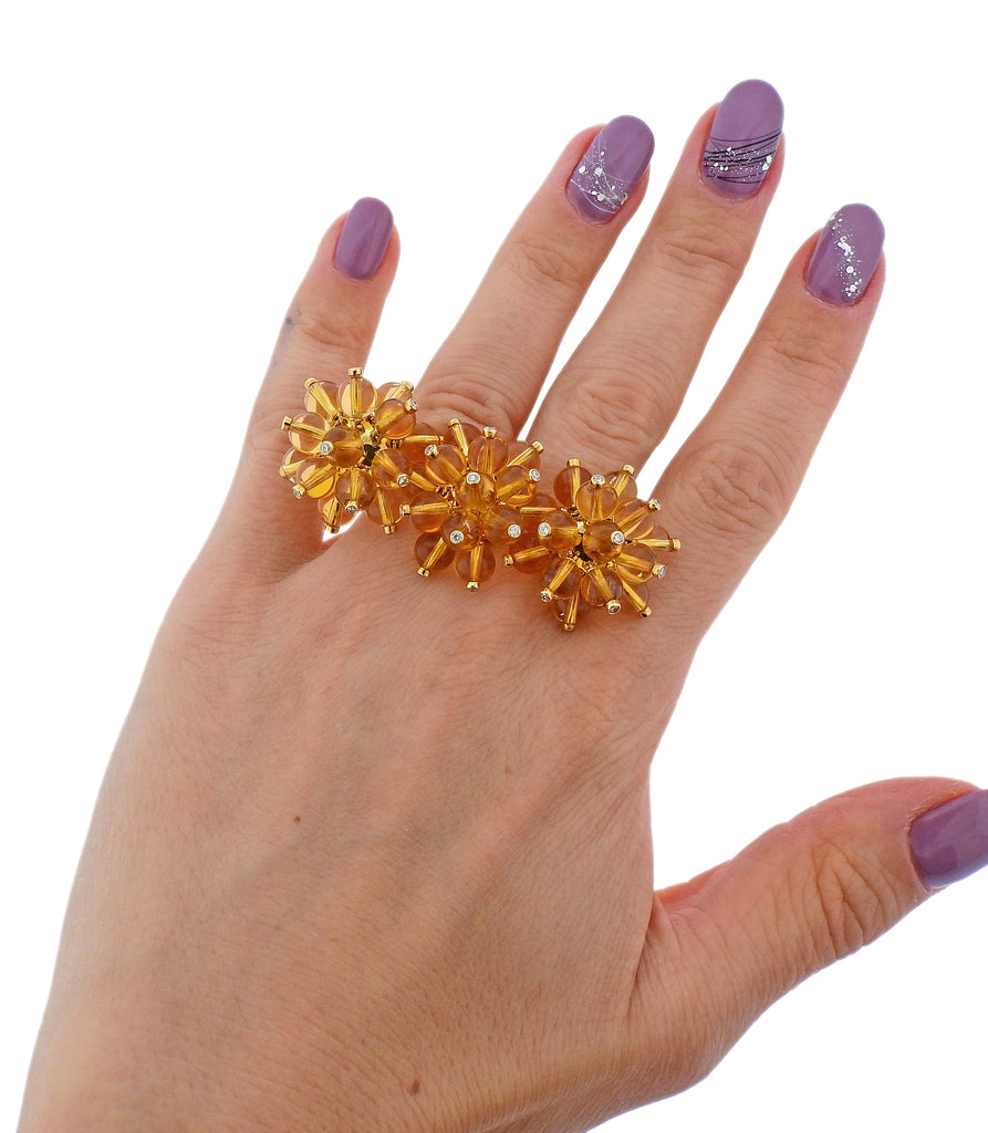 thumbnail image of Aletto Brothers Diamond Citrine Gold Double Finger Ring