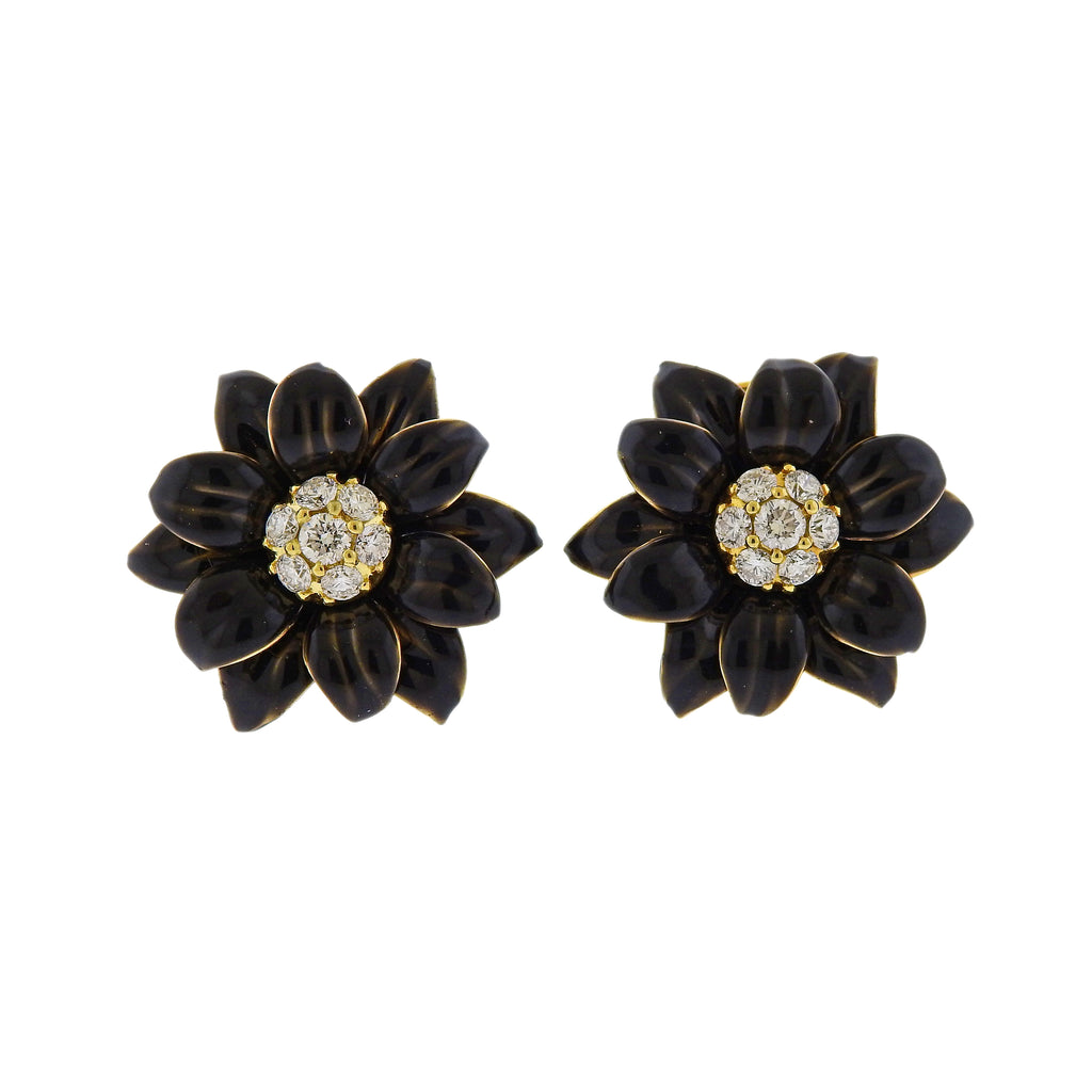 thumbnail image of Aletto Brothers Diamond Black Enamel Gold Earrings