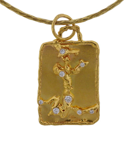 image of Jean Mahie Charming Creatures Gold Diamond Pendant on Necklace