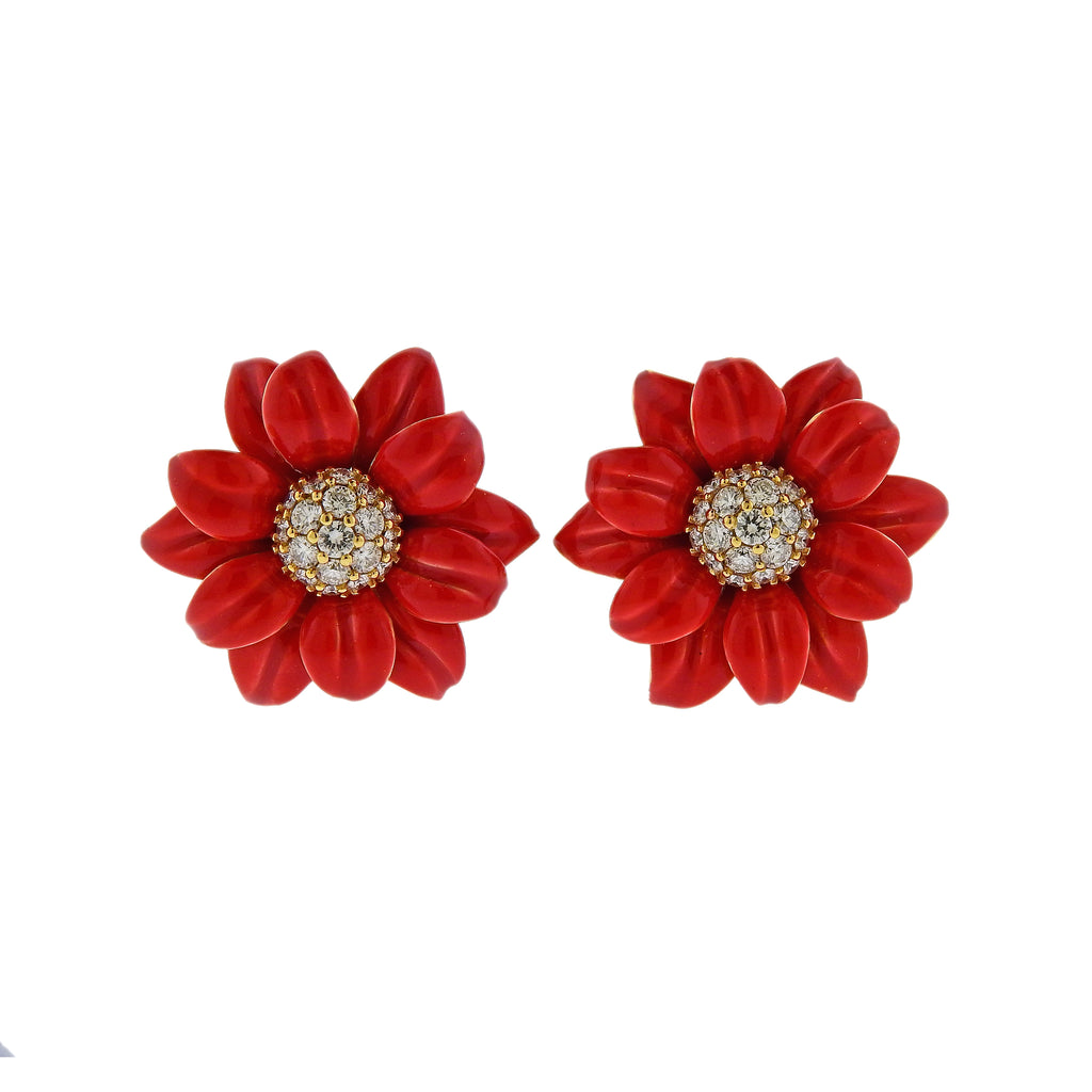 thumbnail image of Aletto Brothers Diamond Red Enamel Gold Flower Earrings