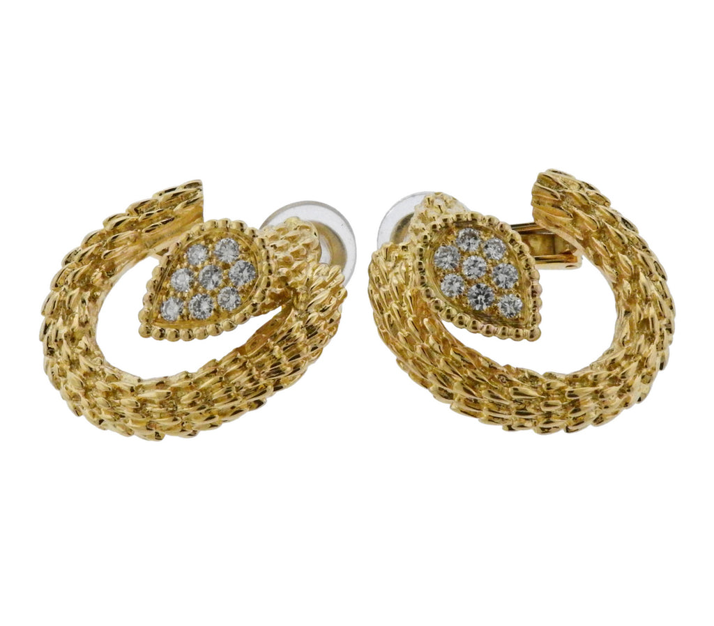 thumbnail image of Boucheron Serpent Boheme Diamond Yellow Gold Earrings