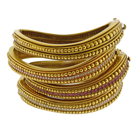 image of Kieselstein Cord Caviar Diamond Ruby Gold Bangle Bracelet Set