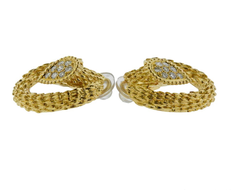 image of Boucheron Serpent Boheme Diamond Yellow Gold Earrings