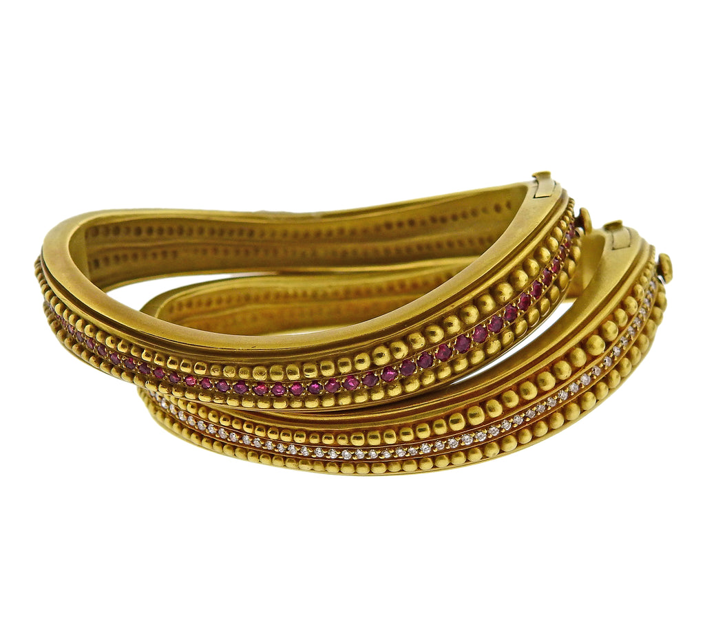 thumbnail image of Kieselstein Cord Caviar Diamond Ruby Gold Bangle Bracelet Set