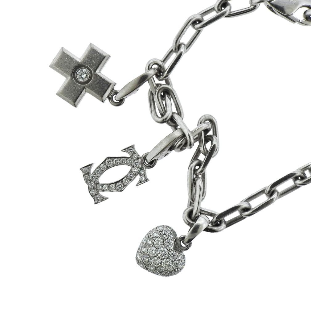 thumbnail image of Cartier Love 18k Gold Diamond Multi Charm Bracelet