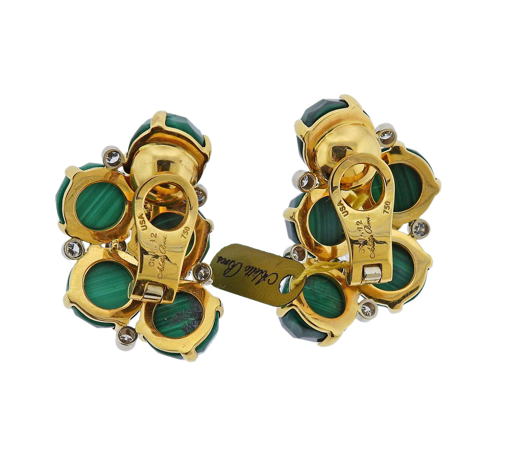 thumbnail image of Aletto Brothers Malachite Diamond Gold Half Moon Earrings