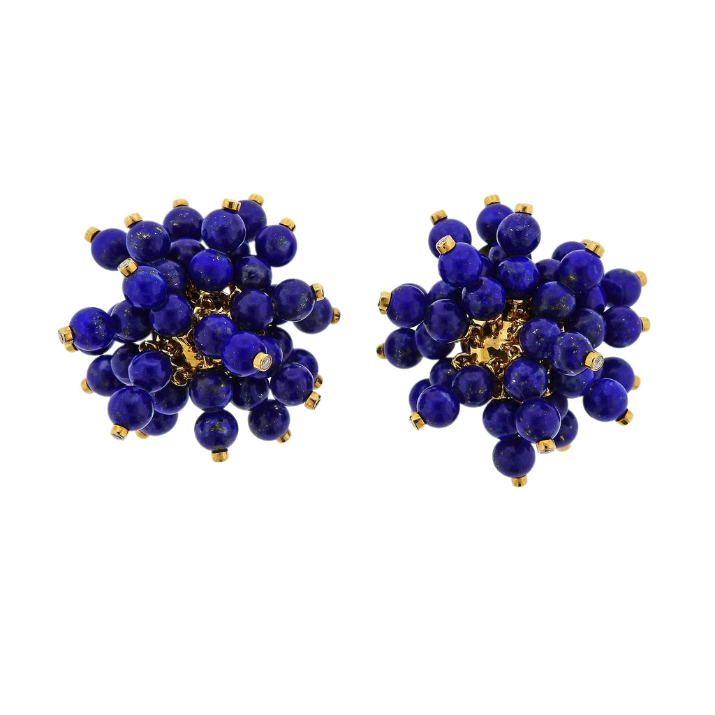 thumbnail image of Aletto Brothers Pom Pom Lapis Diamond Gold Earrings