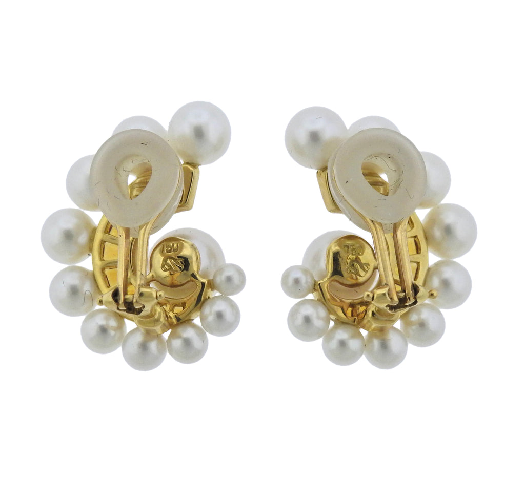 thumbnail image of Seaman Schepps Citrine Pearl 18k Gold Swirl Earrings