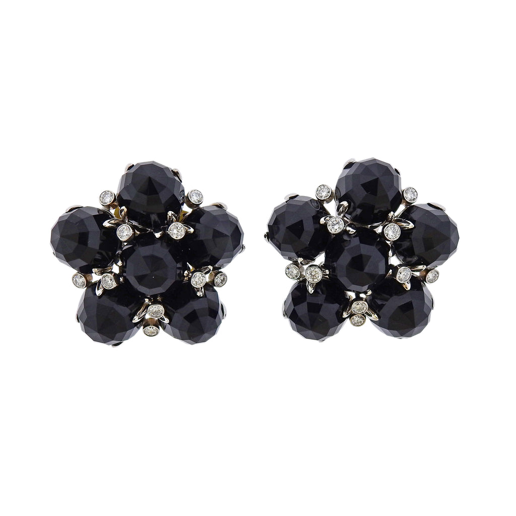 thumbnail image of Aletto Brothers Onyx Diamond Gold Cluster Earrings