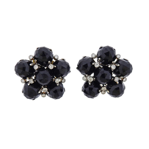 image of Aletto Brothers Onyx Diamond Gold Cluster Earrings