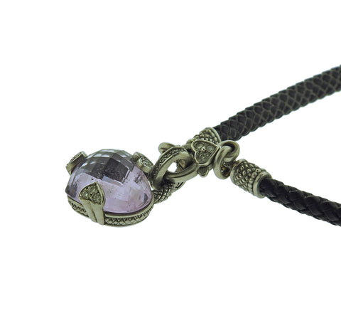 image of Judith Ripka Lola Heart 18k Gold Diamond Amethyst Pendant Leather Necklace