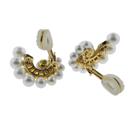 image of Seaman Schepps Citrine Pearl 18k Gold Swirl Earrings