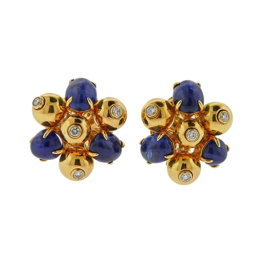 thumbnail image of Aletto Brothers Sapphire Diamond Gold Cluster Earrings