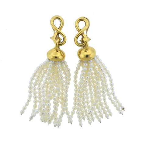 image of 1980s Angela Cummings Pearl 18k Gold Tassel Earrings
