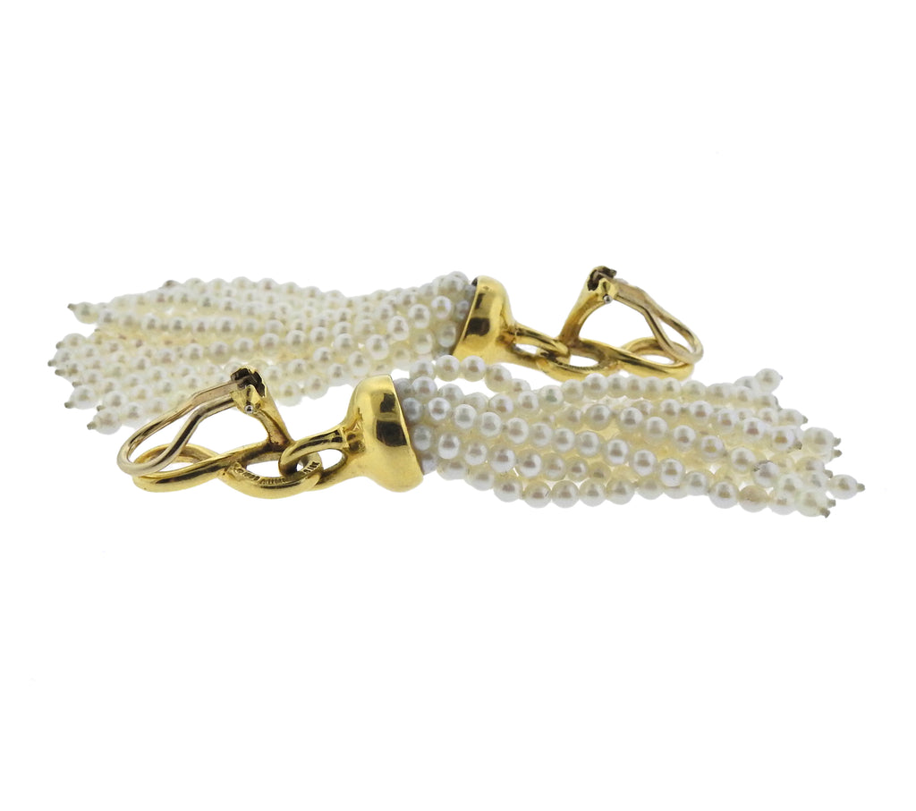 thumbnail image of 1980s Angela Cummings Pearl 18k Gold Tassel Earrings
