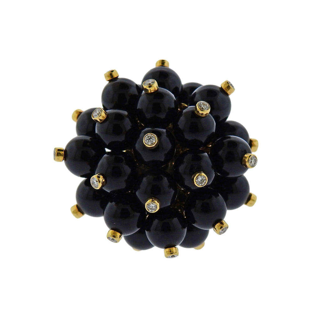 thumbnail image of Aletto Brothers Diamond Onyx Gold Pom Pom Ring